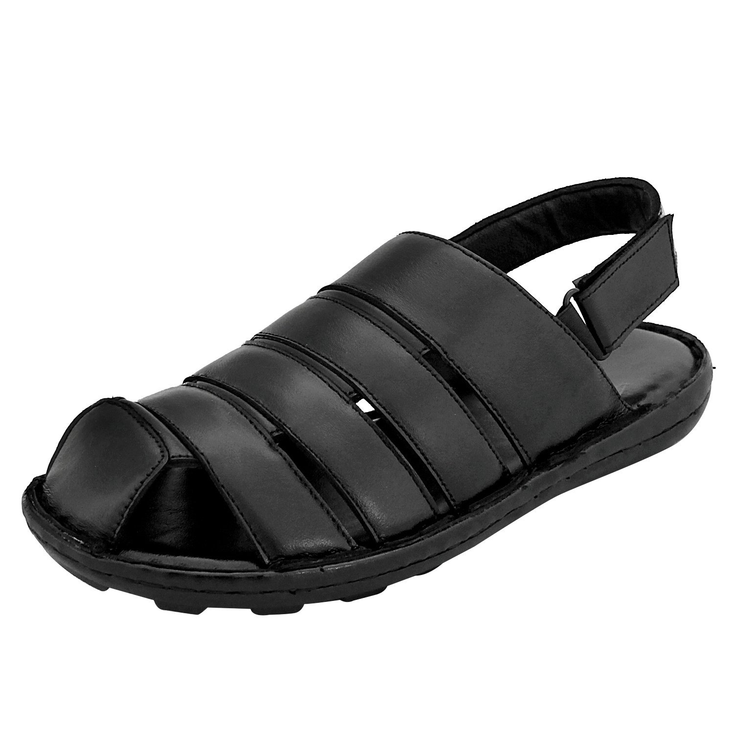 ee4144285 Feather Leather Black Men Sandals  Buy Online at Low Prices in India -  Amazon.in