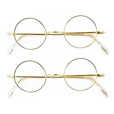 748ee7a50c9 OTC Round Wire Rim Glasses Costume Accessory (2 Pack)  Amazon.co.uk   Clothing