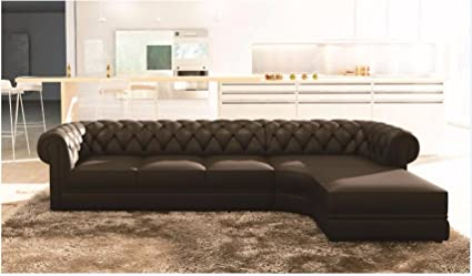 Amazon.com: Chesterfield - Black Upholstered L-Shaped Sofa ...