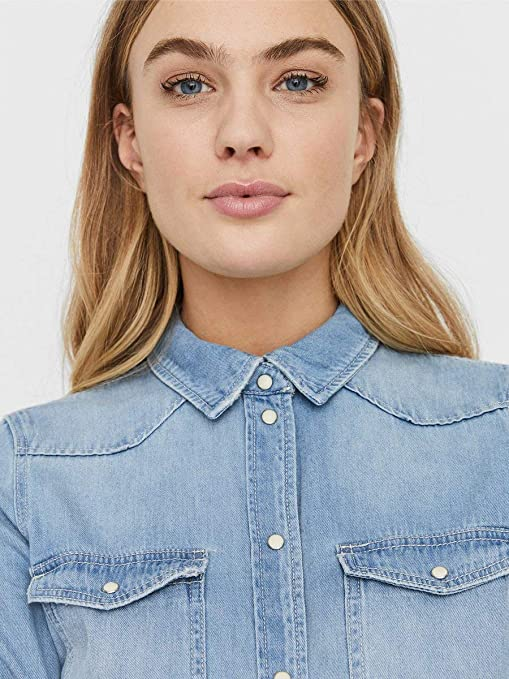 Vero Moda Vmmaria LS Dnm Slim Shirt Mix Ga Noos Ci Camisa para Mujer