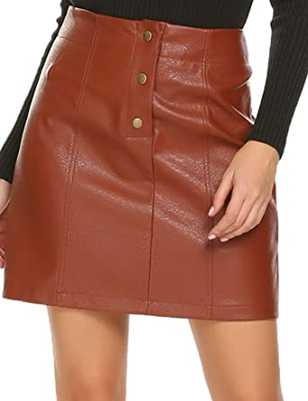 4526210a10 Mofavor Women's Button Front Classic High Waist A Line Faux Leather Mini  Skirt