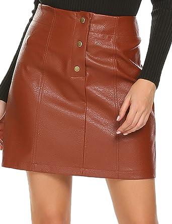 e6b5be63d Mofavor Women's Button Front Classic High Waist A Line Faux Leather Mini  Skirt