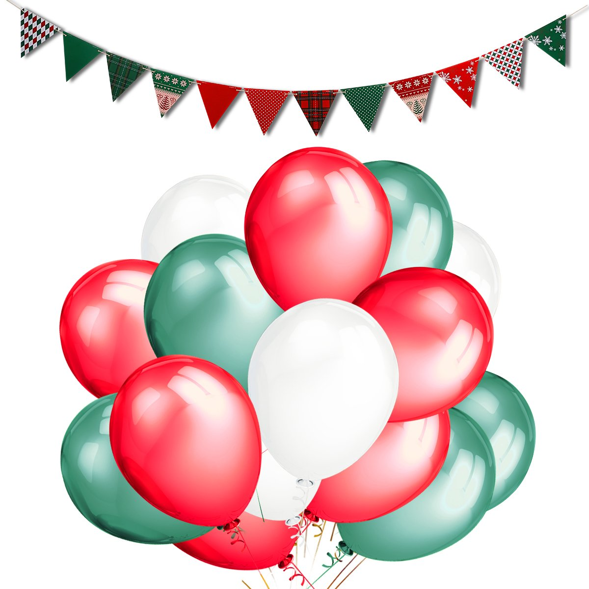 LeeSky 50Pack Red & Green & White Color Party Balloons and Christmas Style Pennant Banner- Christmas Party Decoration Supplies GRW-12