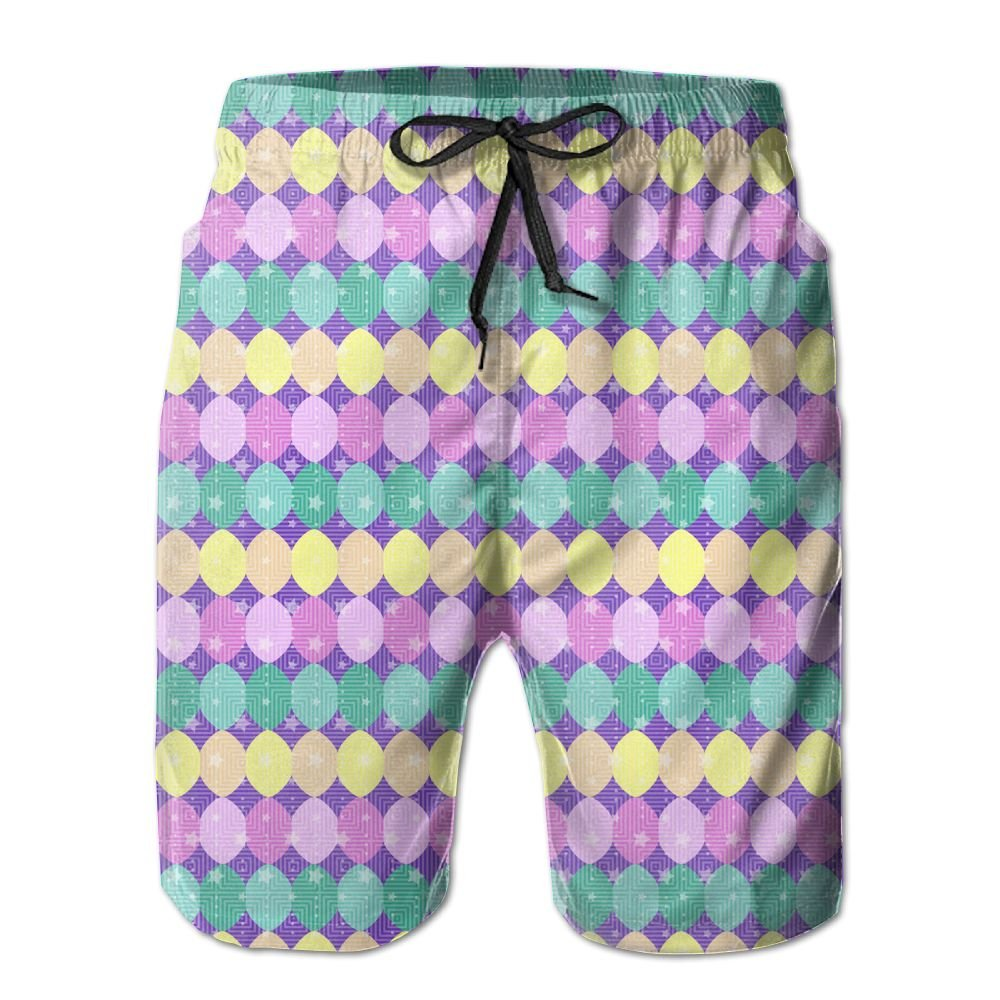 JDHFAF Egg Stars Mens Beach Board Shorts Quick Dry Summer Casual Swimming Soft Fabric with Pocket