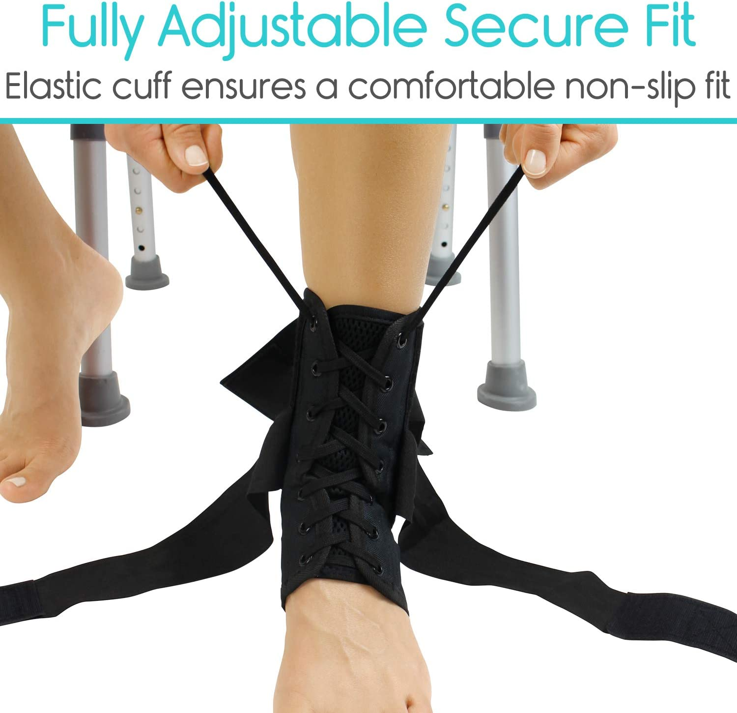 Vive Lace Up Ankle Brace - Men, Women Foot Support Stabilizer Compression Sleeve - Sprained Adjustable Leg Splint - Sprain Rolled Immobilizer Wrap Guard for Running, Volleyball, Basketball, Soccer (L): Industrial & Scientific