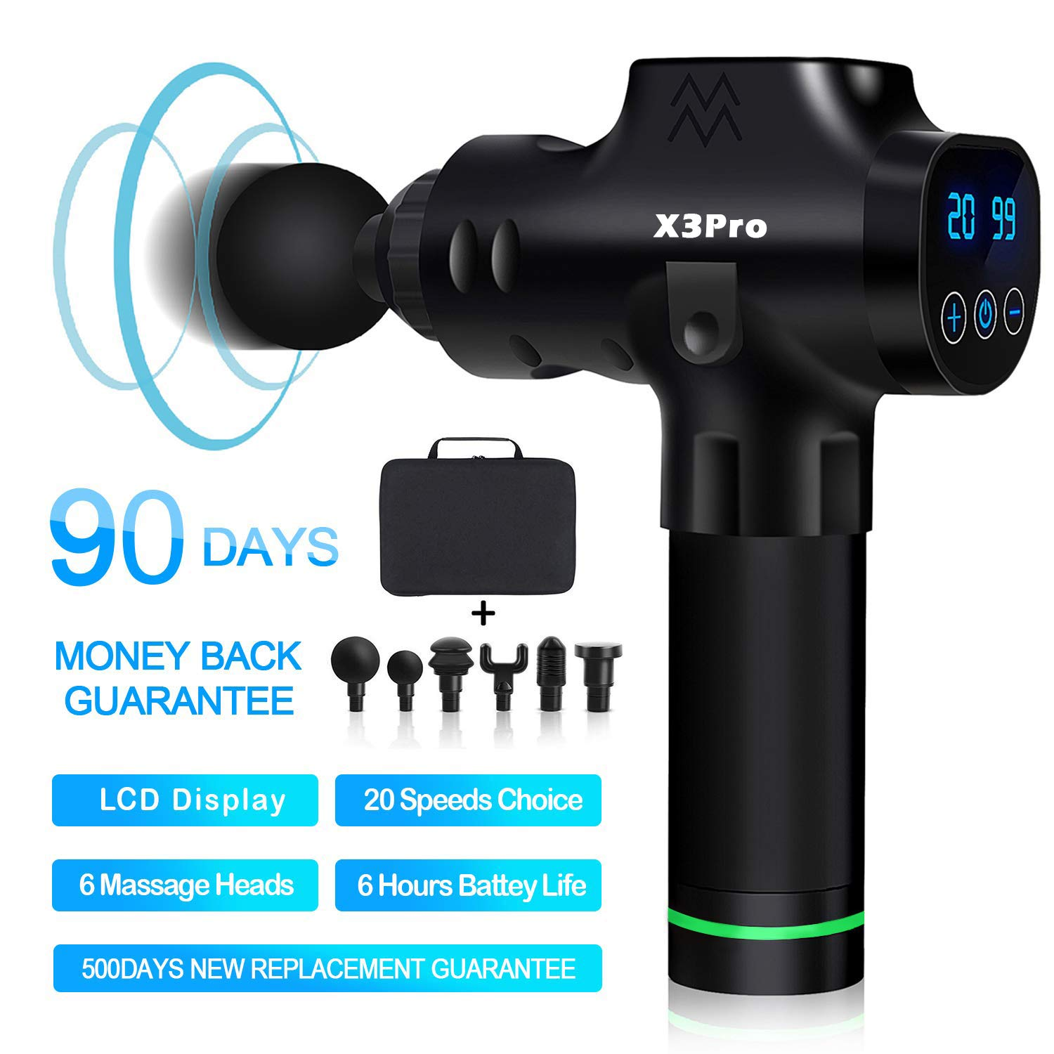 Massage Gun Deep Tissue Percussion Muscle Massager for Pain Relief, Handheld Electric Body Massager Sports Drill Portable Super Quiet Brushless Motor,[Upgrade] 20Speeds Percussion Massage Feeke X3 Pro by Feeke