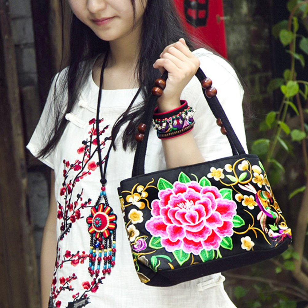 Amazon.com: LUOEM Womens Embroidered Handbags Shoulder Bag Embroidery Peony Flower Bags: Clothing