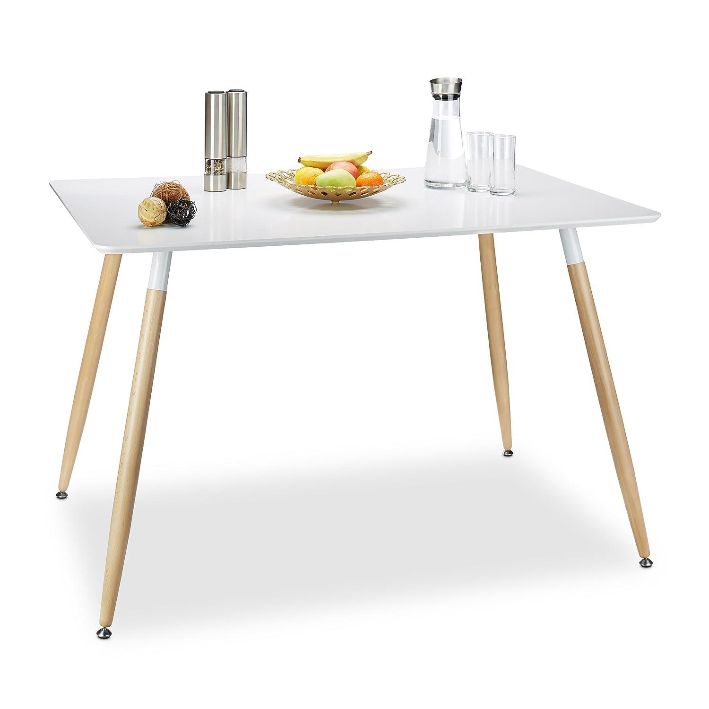Relaxdays Esstisch weiß ARVID, Holz, rechteckig, HxBxT  75 x 120 x 80 cm, Beine natur, Gummi Untersetzer, Weiß