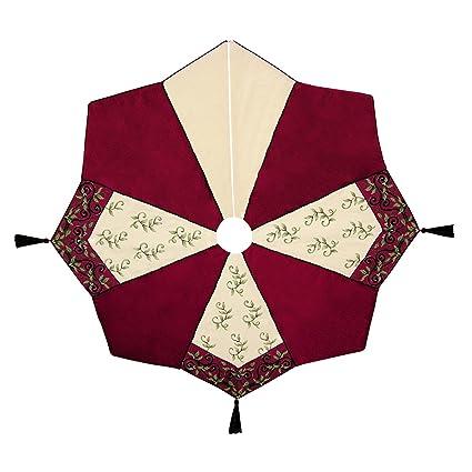 "54"" Needlepoint Christmas Tree Skirt, HOLIDAY GARDEN - Amazon.com: 54"