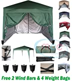 mcc direct Premier 3x3m Waterproof Pop-up Gazebo with Silver Protective Layer Marquee Canopy WS (Green)