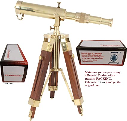WOODEN TRIPOD VINTAGE STYLE BRASS TELESCOPE WITH STAND NAUTICAL DECOR PRODUCT
