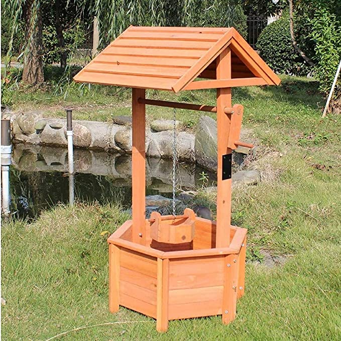 Scot Garden - Macetero de madera con mango giratorio: Amazon.es: Jardín