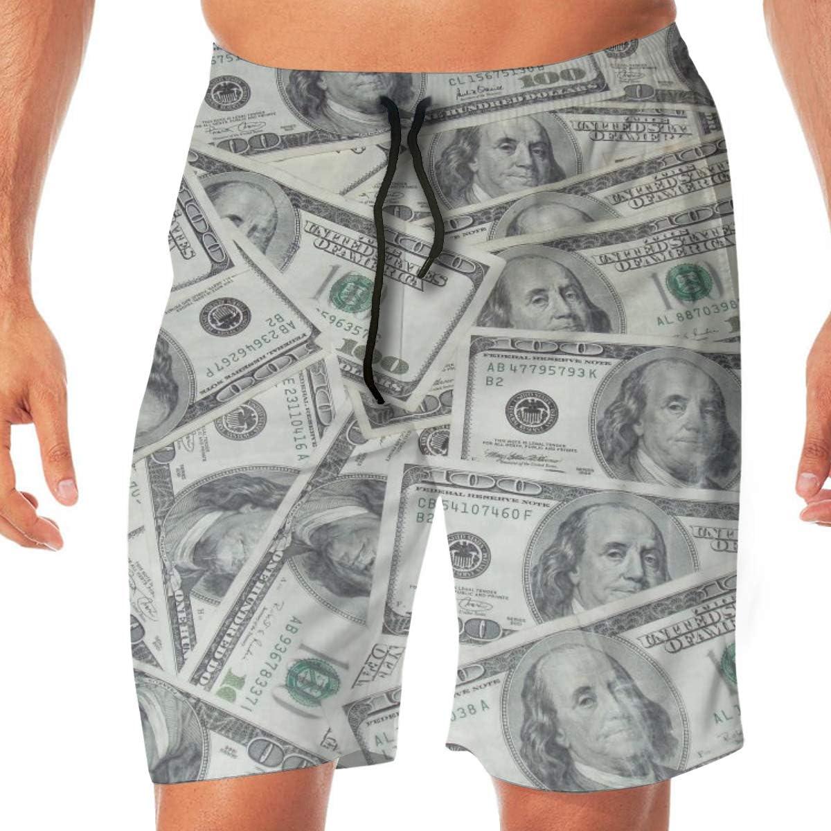 EWHUBVDa Cool USA Dollar Bill Summer Mens Quick-Drying Surf Trunks Beach Shorts