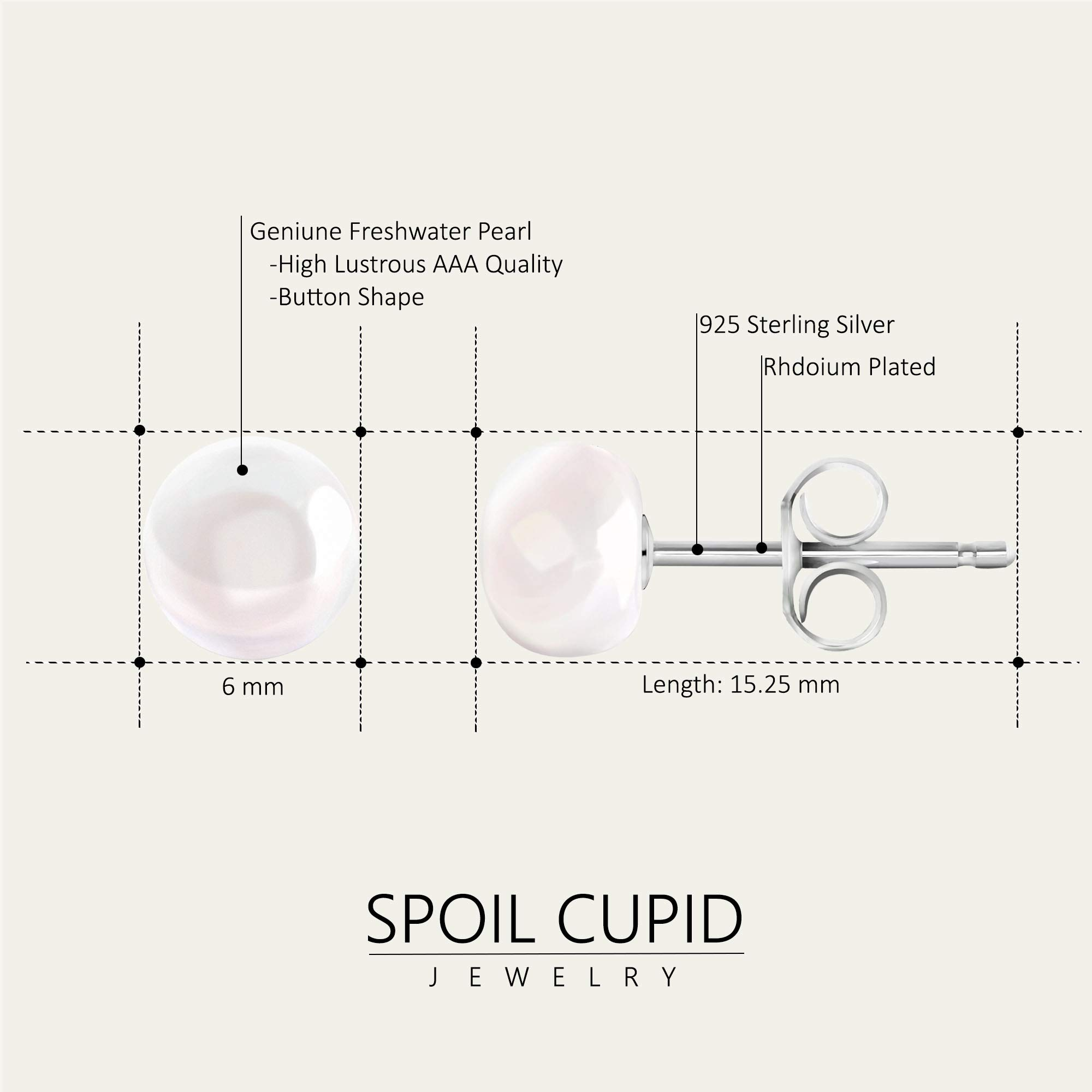 Spoil Cupid White Button Freshwater Cultured Pearl Stud Earrings with Sterling Silver, (6-6.5mm)