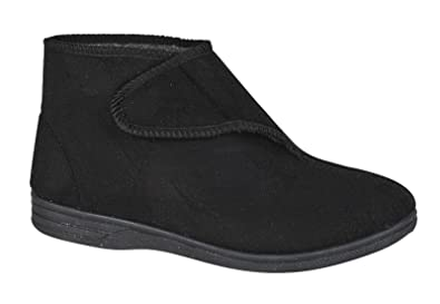 982096540a050f Diabetic Orthopaedic Comfort Slippers Boots Shoes Fur Lined Extra Wide Mens  Black 7