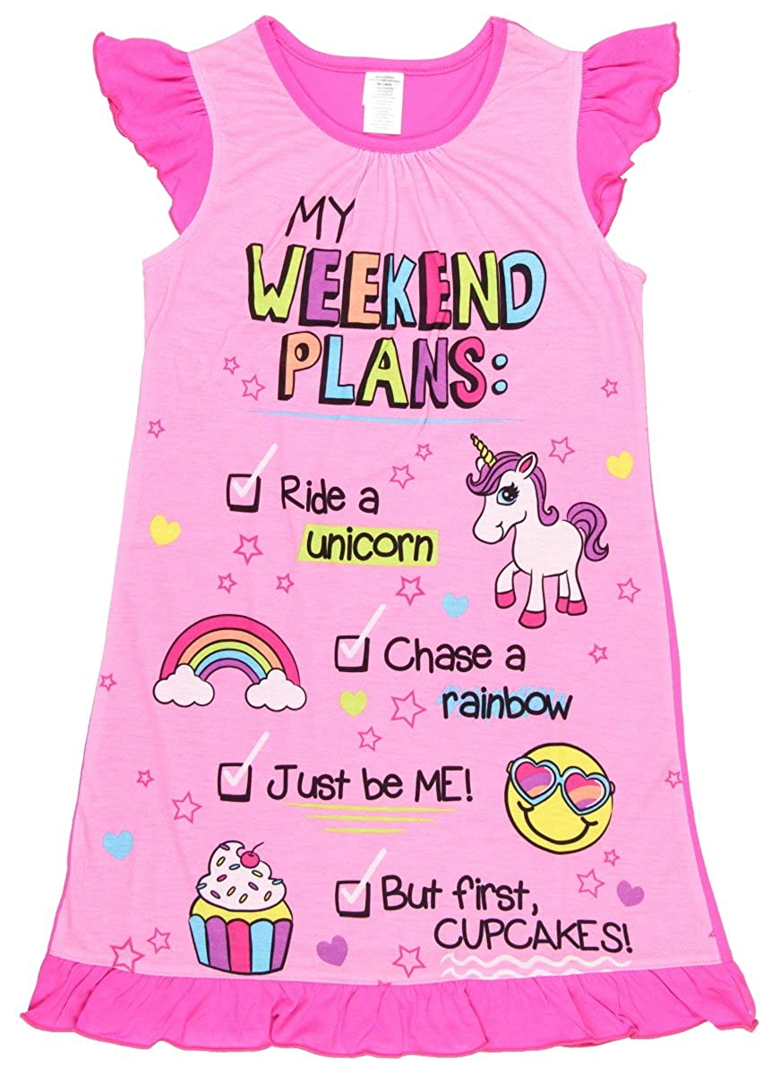 Girls Flutter Sleeve Graphic Sleep Night Gown