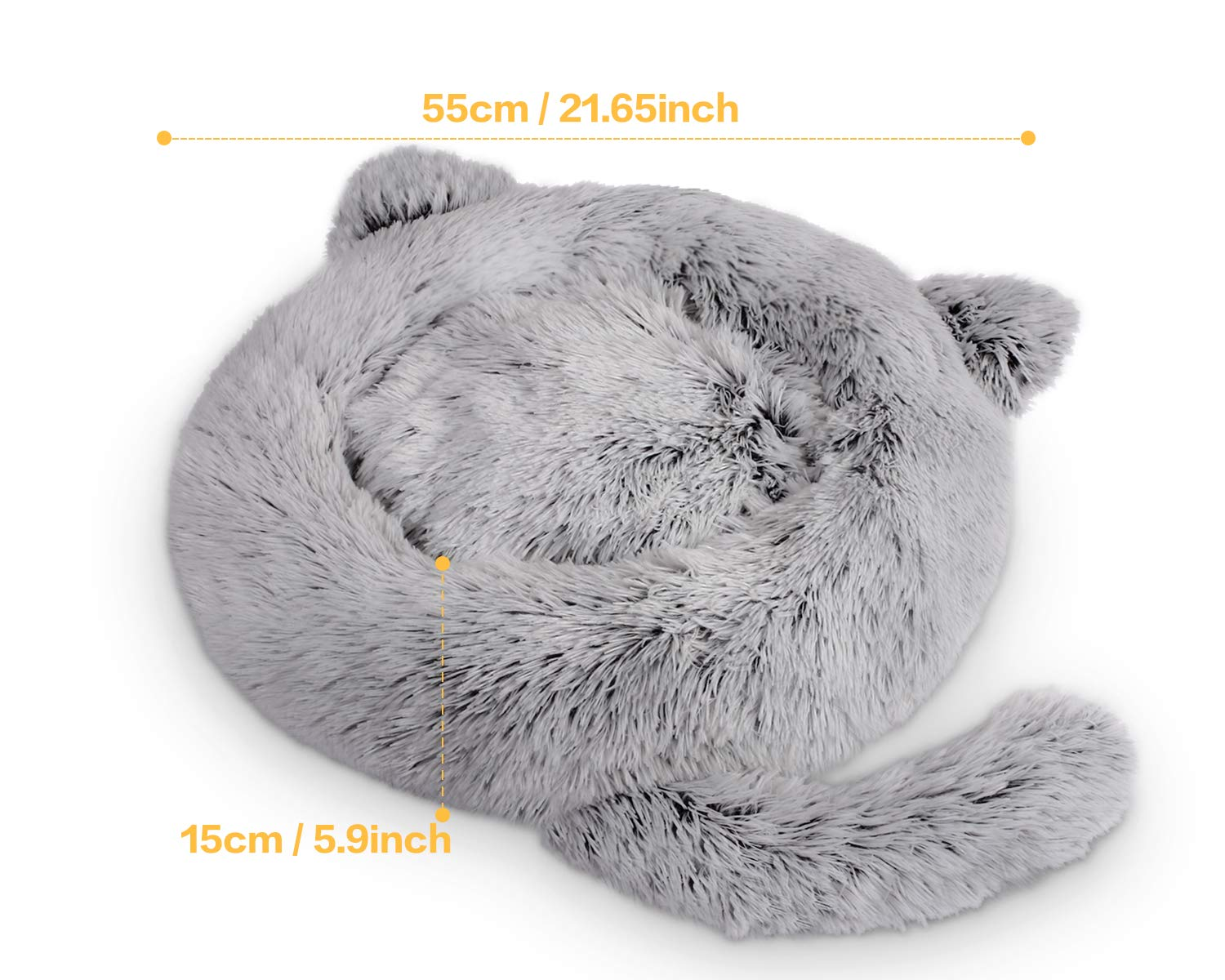 Pecute Cat Bed Small Dog Plush Donut Beds, Large Cats Soft Cushion Puppy Cosy Bedding Warm Sofa Non-Slip, Washable Easy to Clean(55cm diameter, Light Grey)