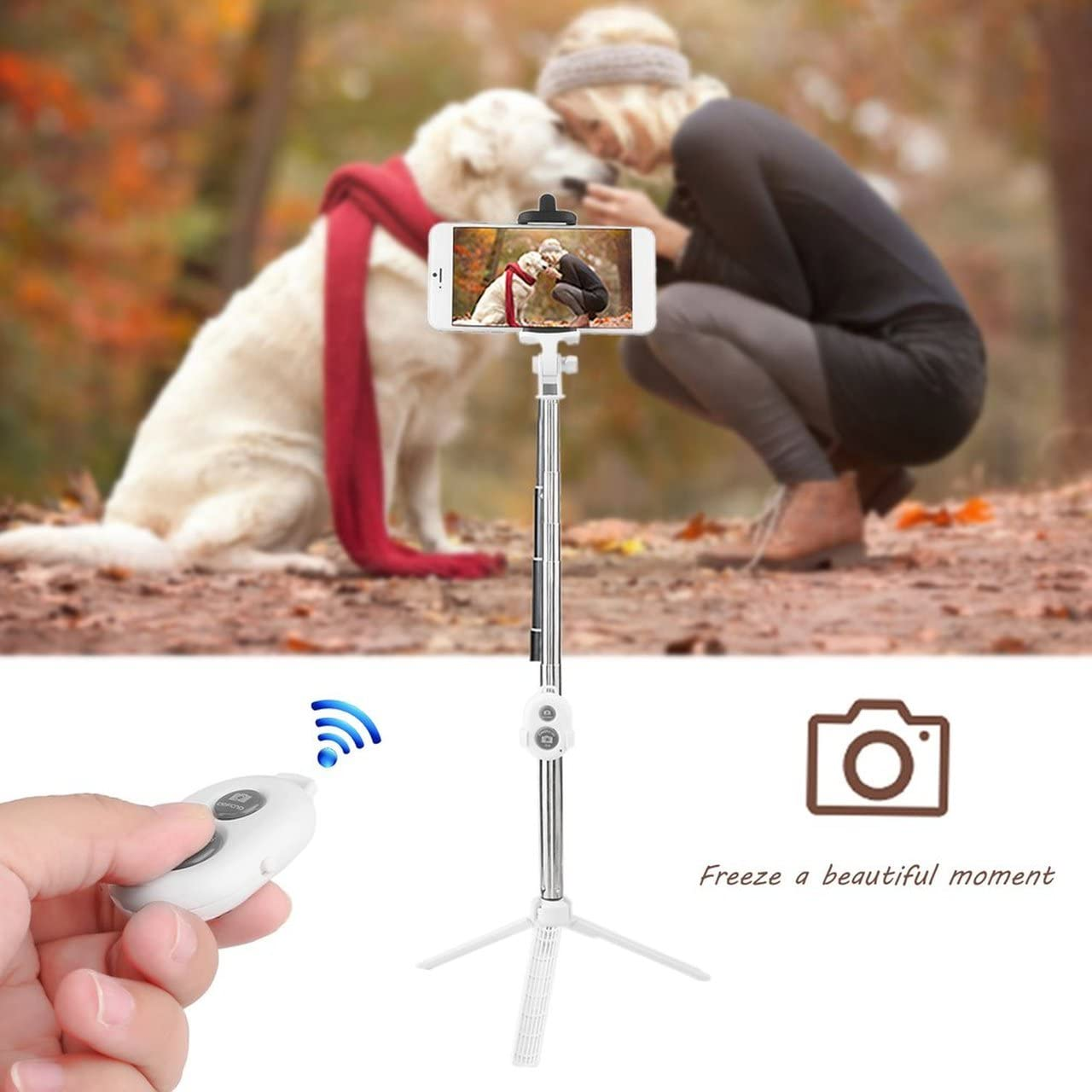 pink Stainless Steel 4 in 1 Wireless Remote Shutter+Handheld Cellphone Selfie Stick Monopod+Tripod+Holder for IOS Android SmartPhone Jasnyfall