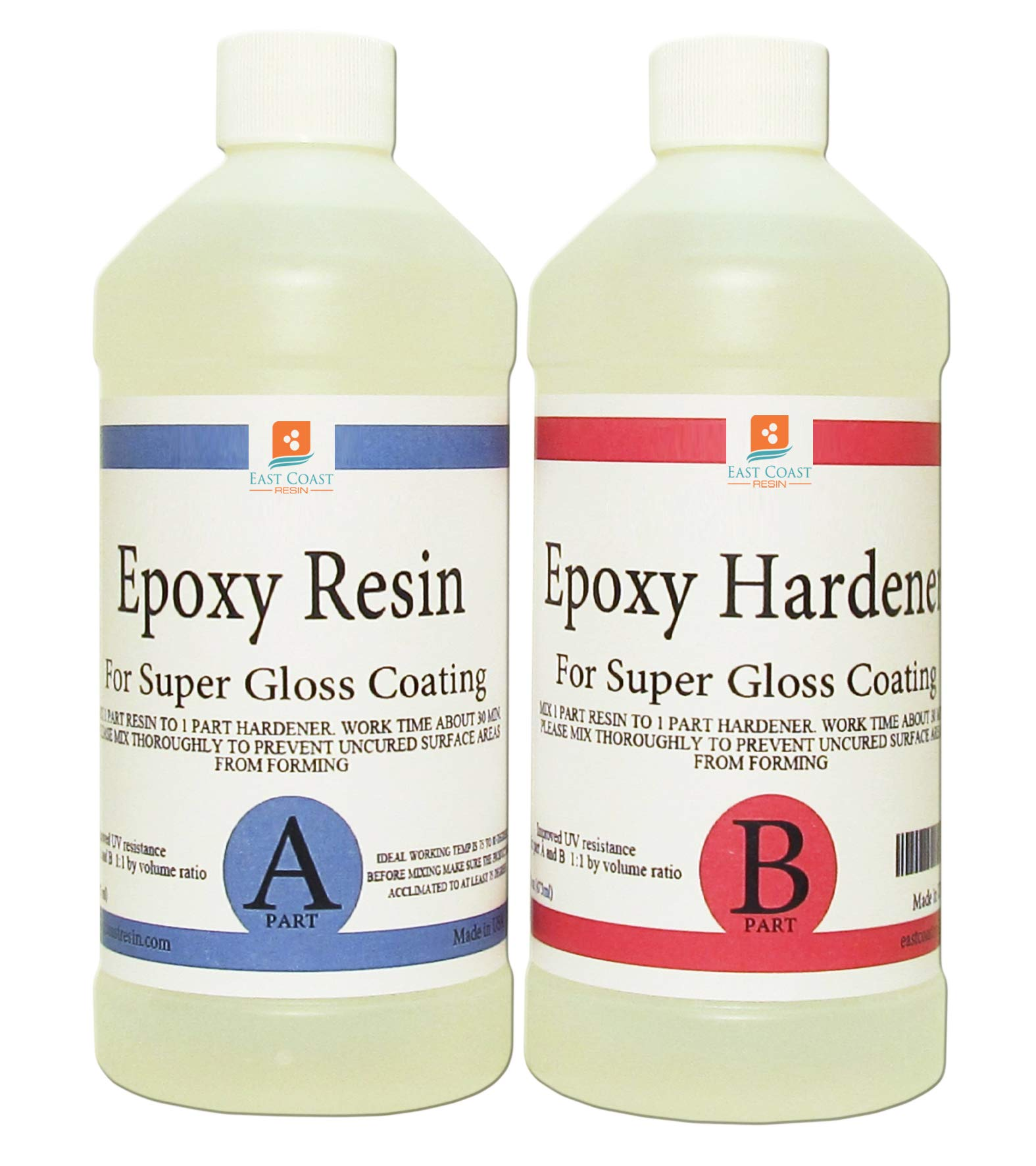 EPOXY Resin Crystal Clear 8 oz Kit. for Super Gloss Coating and TABLETOPS by East Coast Resin