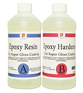 Epoxy Resin 8 oz Kit | 1:1 Crystal Clear Resin and Hardener for Super Gloss Coating | For Bars, Tabletop, Art, Jewelry, Casting Molds | Safe for Use on Wood, Metal, Stone, Plastic, Marine Sealer