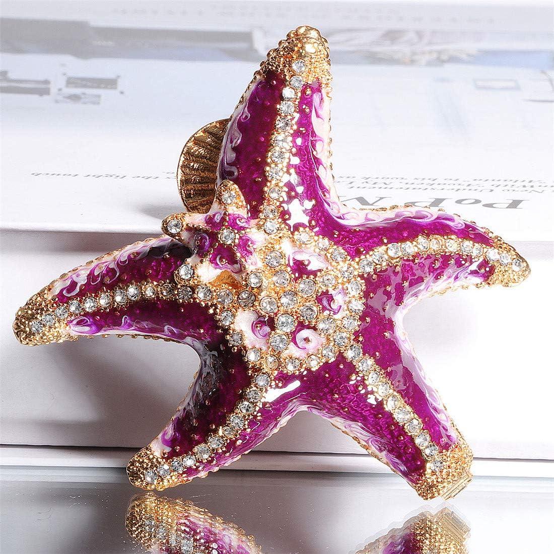 Waltz&F Joyero con diseño de estrella de mar de diamante morado con bisagras, pintado a mano, para coleccionar anillos