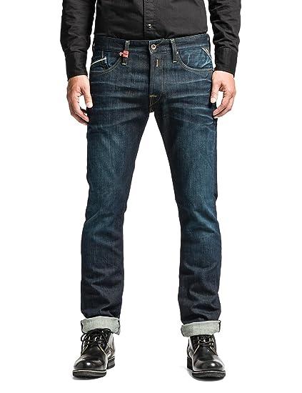 Replay Blue Waitom Regular Slim Fit Jeans - Mens - Blue - Blau (Blue Denim