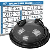 RitFit Balance Ball Trainer, 60 cm, Half Ball for Yoga,Fitness,Strength Exercise with Air Pump, Resistance Bands and Free Dig