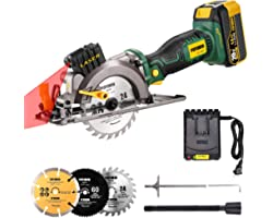POPOMAN 20V Cordless Circular Saw, 4.0Ah Battery, 4-1/2 Inch, 4.500RPM Compact Circular Saw with Laser, Fast Charger, 3 Blade