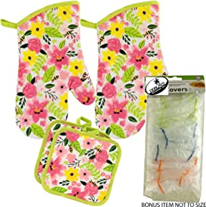 Dublin's Treasure Isle Spring Time Vibrant Flowers and Bees Kitchen Oven Mitt Pot Holder Set Kitchen Linens Oven Mitt Pot Holder Pack with Food Covers (Bees)