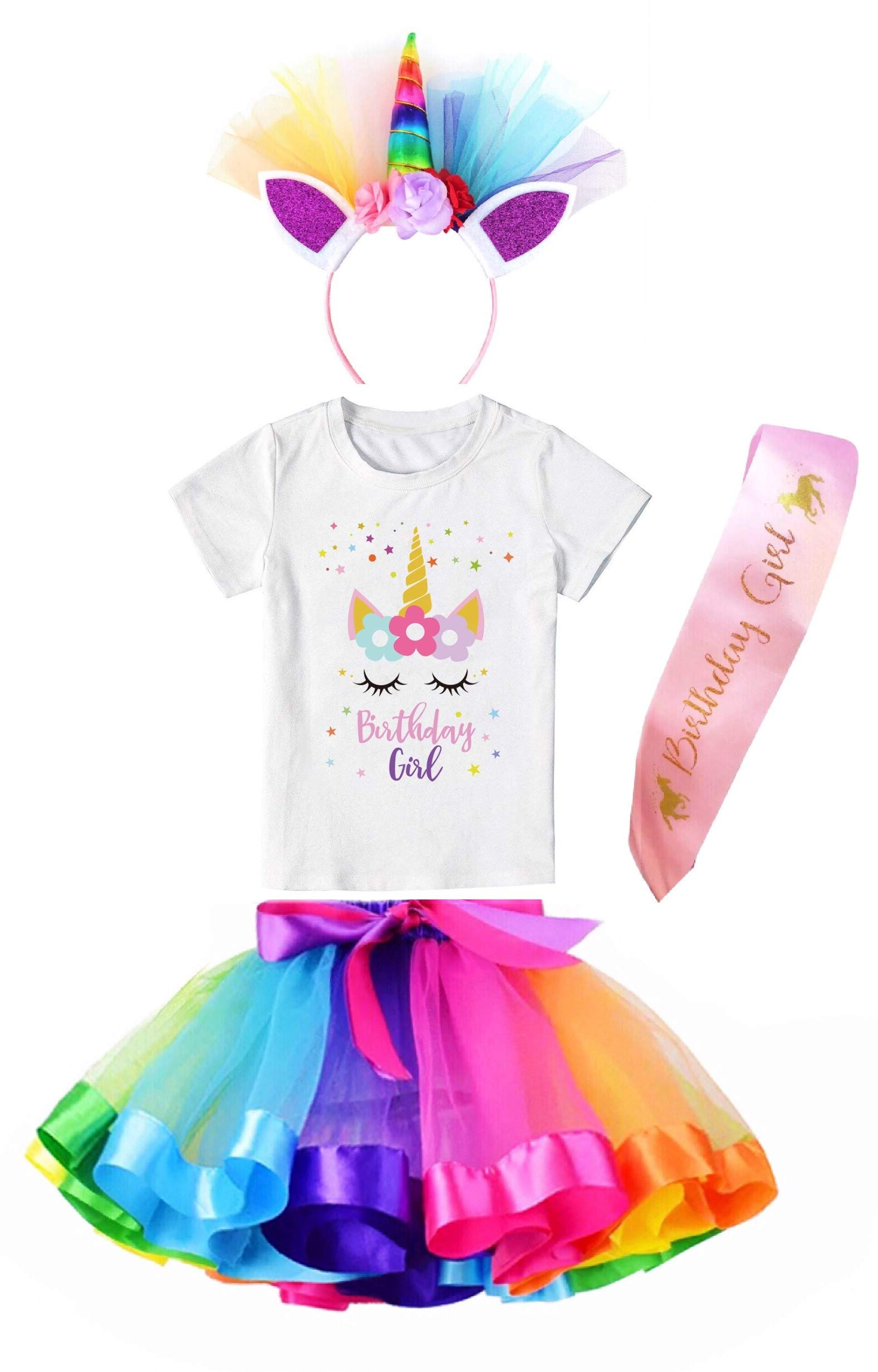 Girls Costume Rainbow Tutu Skirt with Unicorn Star Birthday Tshirt, Headband & Satin Sash 3