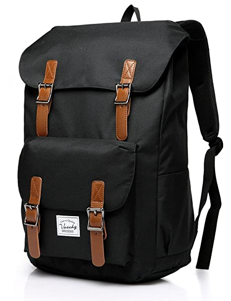 a4ae5b643b81 Vaschy Vintage Backpack for Men and Women Casual Lightweight Camping Rucksack  Bookbag with 15.6in Laptop Sleeve Black  Amazon.ca  Luggage   Bags
