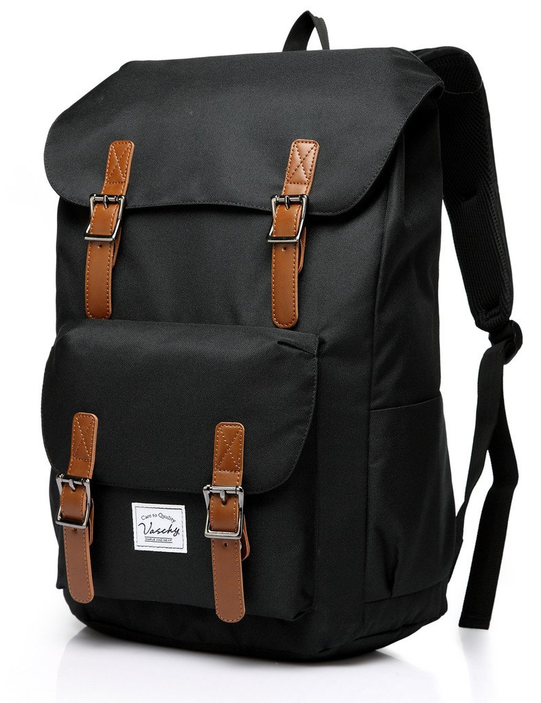 Vaschy School Backpack for Men and Women Casual Lightweight Camping Rucksack Bookbag with15.6in Laptop Sleeve Black
