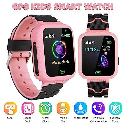 YENISEY GPS Smartwatch para Niños,WiFi Reloj Rastreador de TeléFono para Niñas y Niños Smartwatch con Monitor Remoto CáMara Linterna Reloj Despertador ...