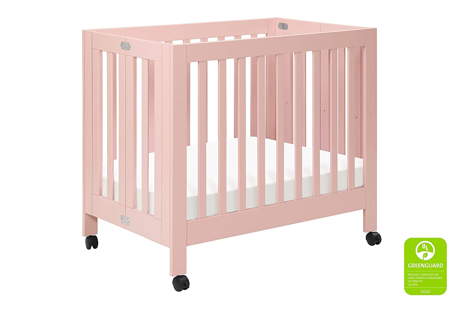 Babyletto Origami Mini Portable Crib with Wheels in Petal Pink