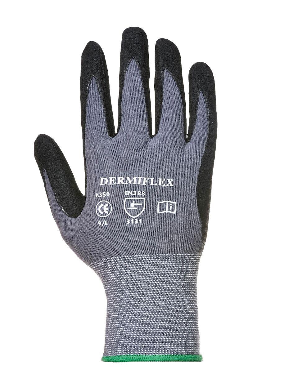 Portwest UA350G8RM Regular Fit DermiFlex Glove Medium Gray//Black