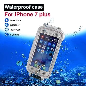 iPhone 7plus / 8plus Funda Impermeable Blanco, 130ft/40m Profundidad Sellado Completo A Prueba de Golpes, Nieve, Polvo, Agua Certificado IPX8 Buceo ...
