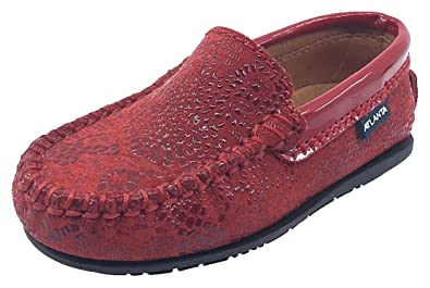 7a4a006c14f0 Atlanta Mocassin Girl s   Boy s Red Pebble Printed Leather with Patent Trim  Slip On Moccasin Loafer