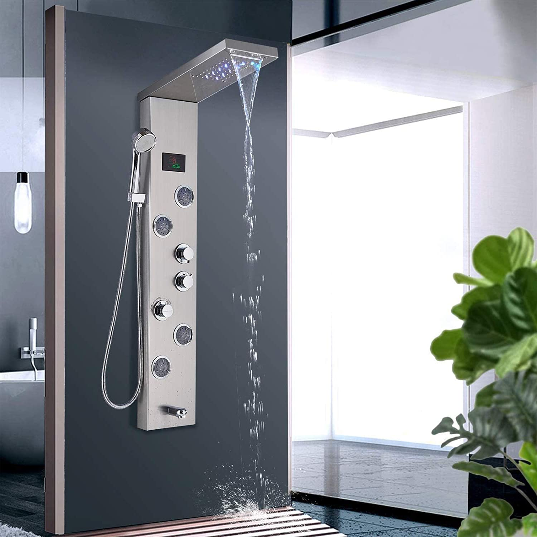 LED Brushed Nickel Faucet Bath Shower Panel Screen Massage Jets Mixer Tap Set