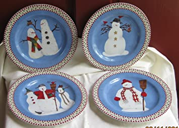 Debbie Mumm Snowman 8 Inch Dessert Plates By Sakura & Amazon.com   Debbie Mumm Snowman 8 Inch Dessert Plates By Sakura ...