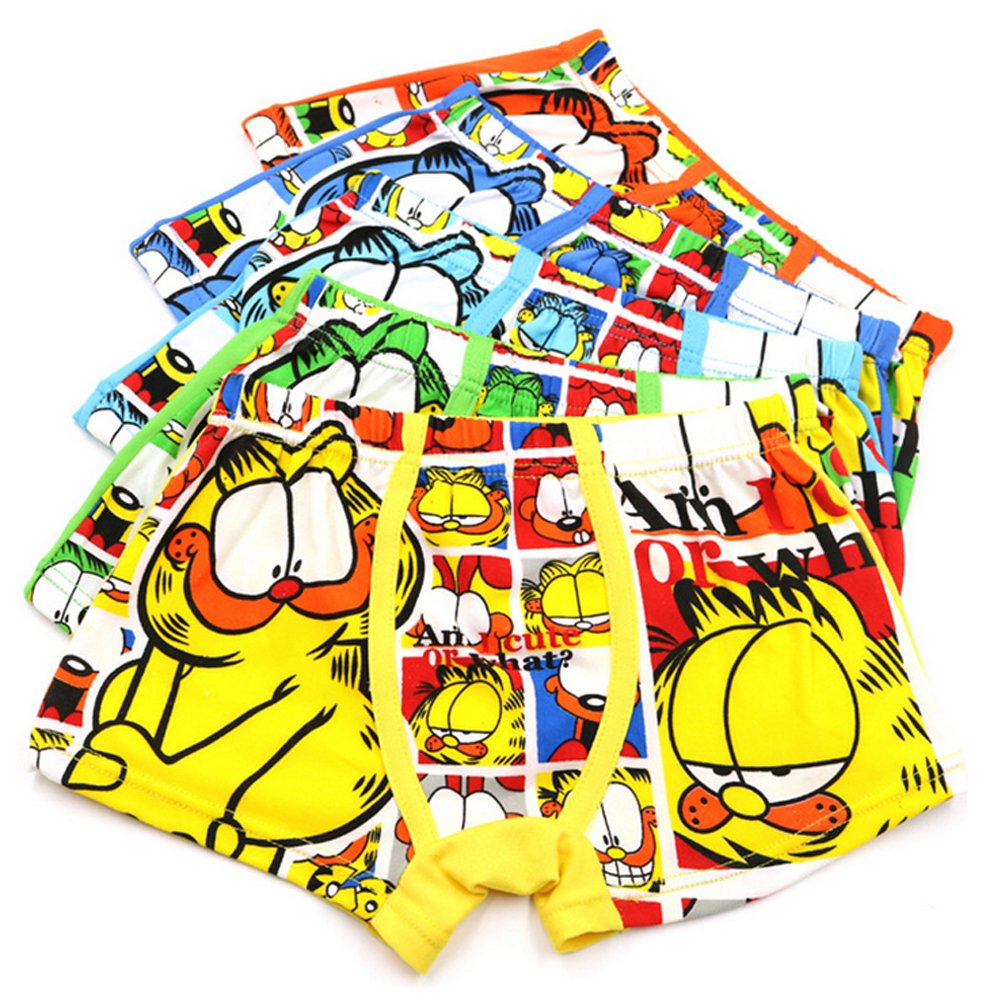 Toddler Boys Cartoon Character Garfield Boxer Briefs Cotton Underwear 5 Pack YUMILY CAETNK1706228