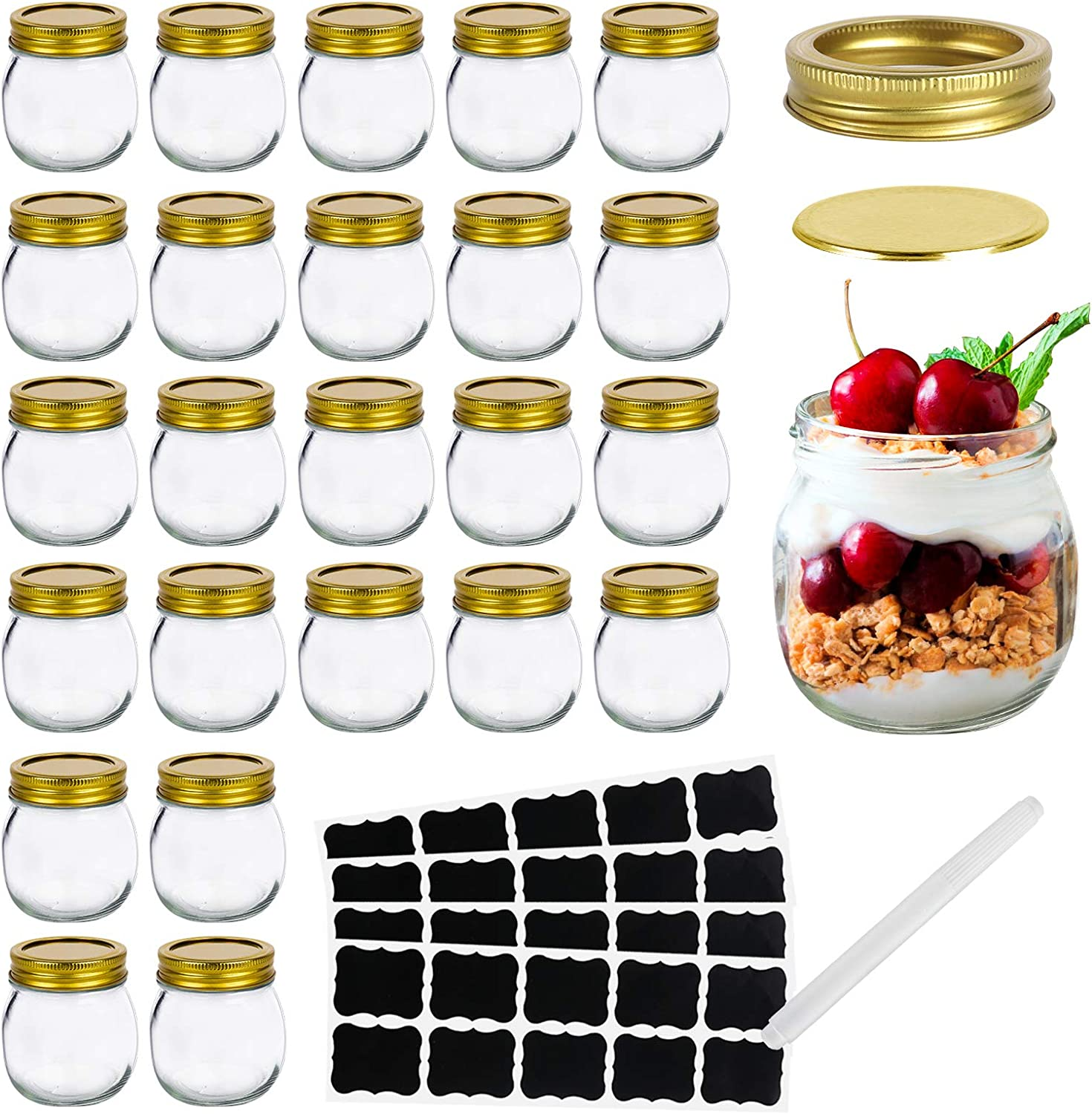 Mason Jars 10 OZ, Glass Jar ,Canning Jars Jelly Jars With Regular Lids, Ideal for Overnight oats,Jam, Honey, Yogurt,Wedding Favors, Baby Foods,Spice set of 24
