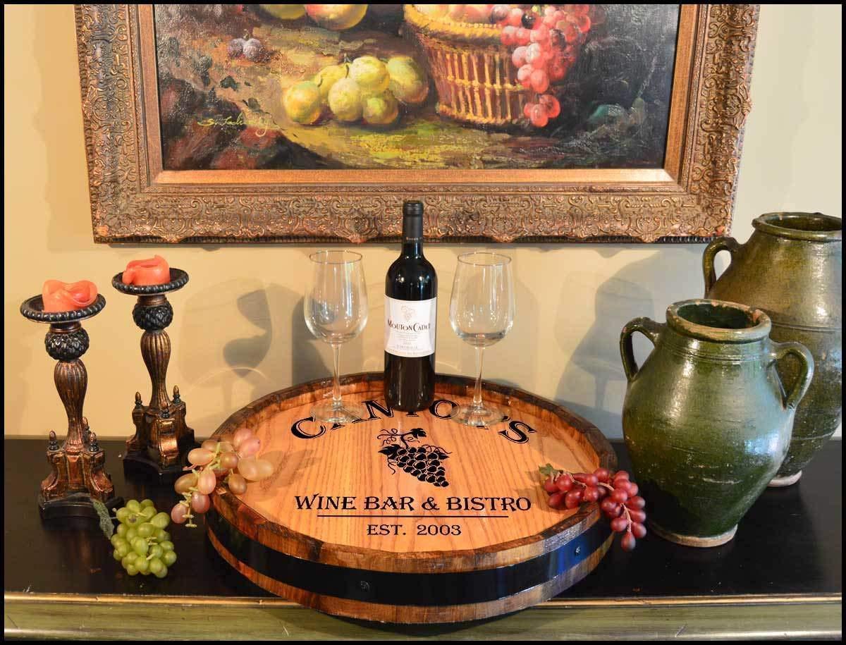 Home or Bar Maya Vineyards Personalized Quarter Barrel Lazy Susan