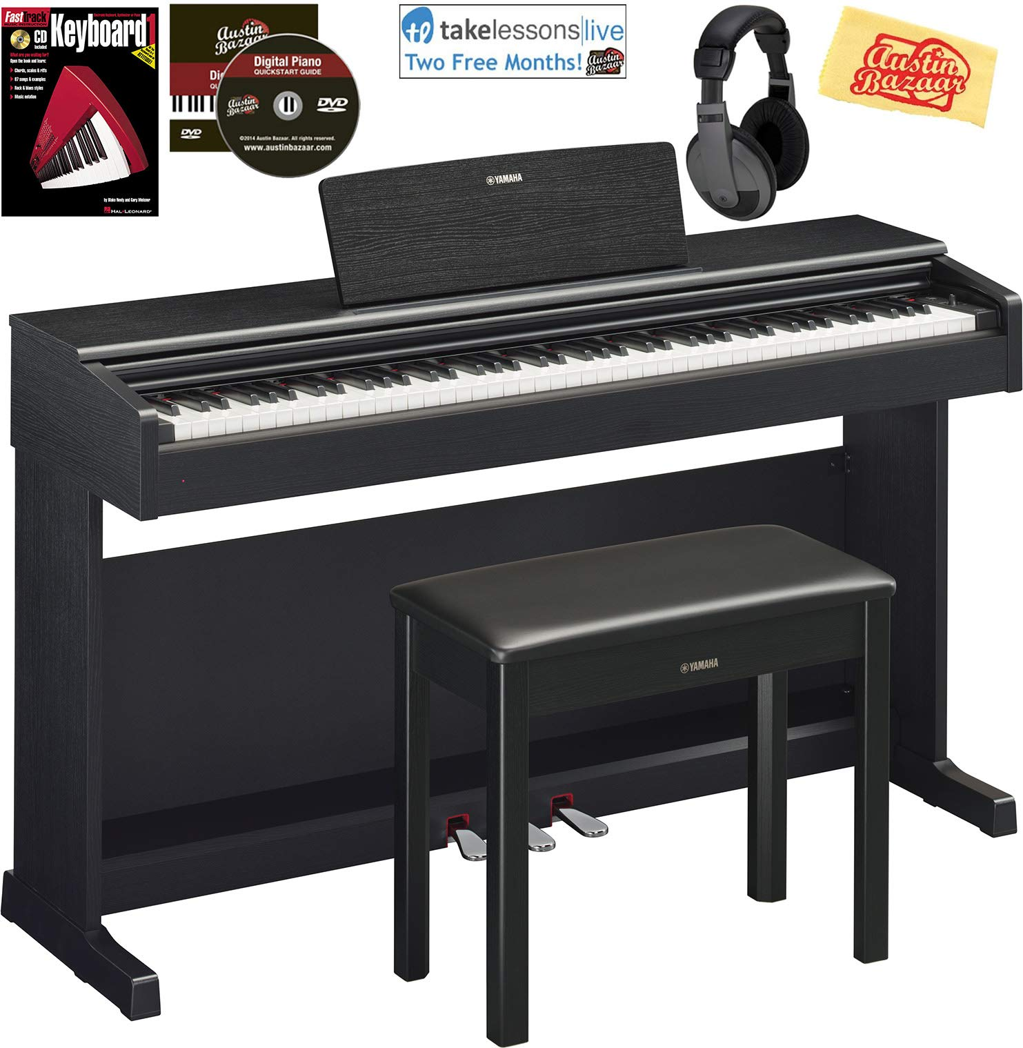 Yamaha Arius YDP-144 Traditional Console Digital Piano - Black Bundle with Furniture Bench, Headphones, Fast Track Music Book, Online Lessons, Austin Bazaar Instructional DVD, and Polishing Cloth by Yamaha