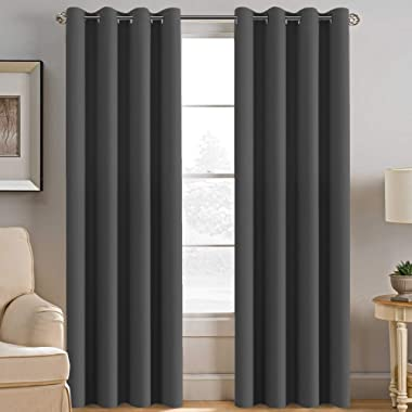 Blackout Curtains for Bedroom Thermal Insulated Curtains Blackout Grey Window Shades, Energy Efficient Noise Reducing Curtains Drapes for Living Room - 52 W by 84 L - Charcoal Gray - One Panel