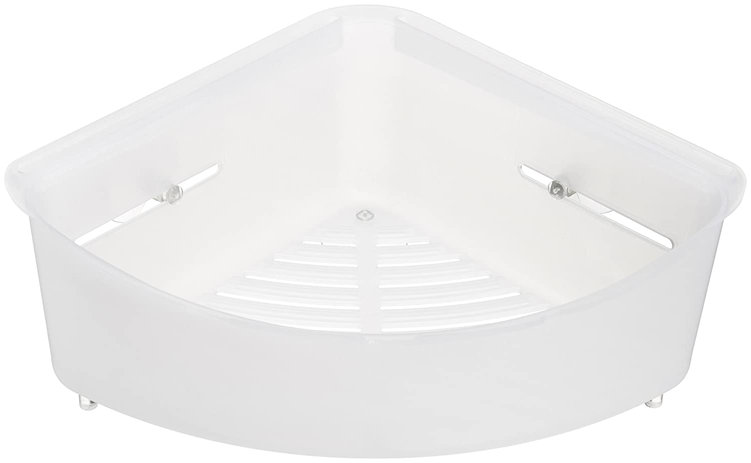 AmazonBasics Corner Shower Basket with Suction Mount - White 023290-660-A60