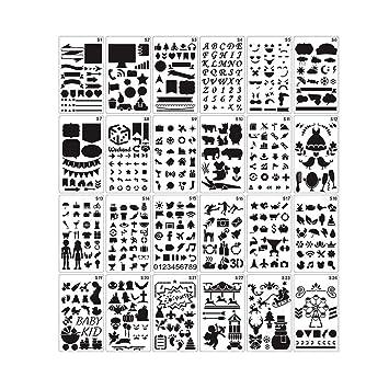 24 Piezas Plantillas Pintura Set,Plantilla Hueca,Plantillas Con Diseños Para Diario, álbum De Recortes, Manualidades, Tarjetas Y Proyectos De Arte: ...