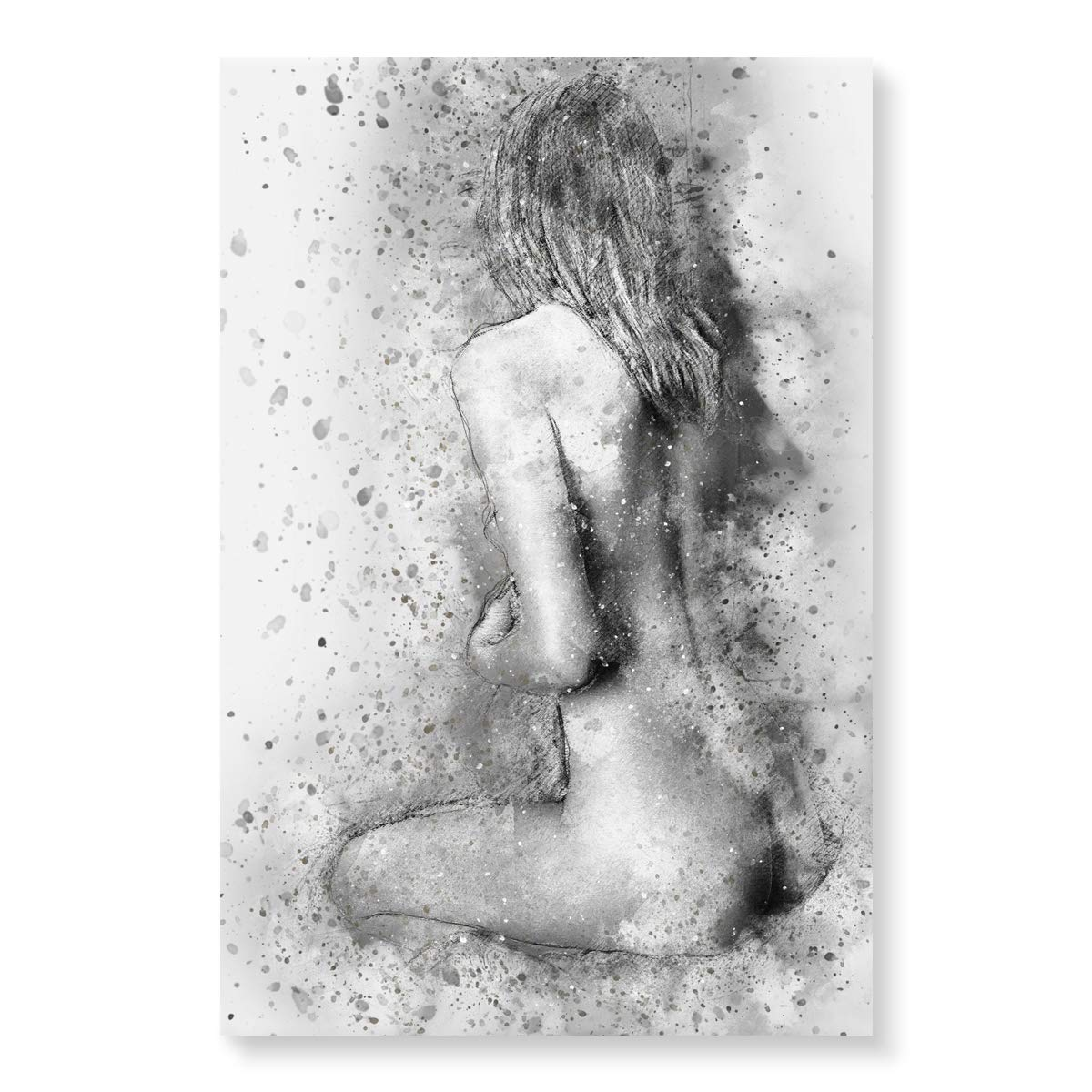 Sexy woman picture nude body oil painting wall art sex girl back hand painted black and white sketch artwork for bedroom living room modern handmade