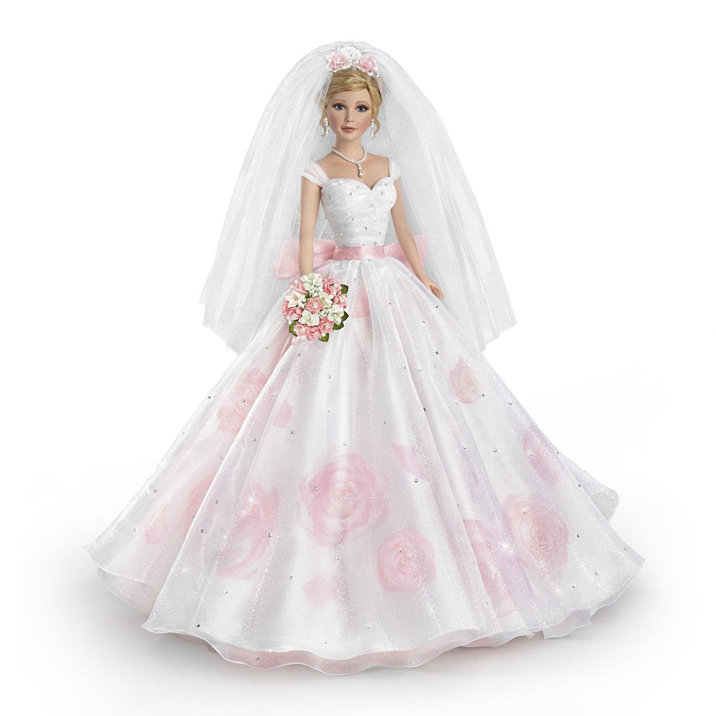 The Ashton-Drake Galleries Sandra Bilotto Bisque Porcelain Bride Doll in Rose Printed Gown
