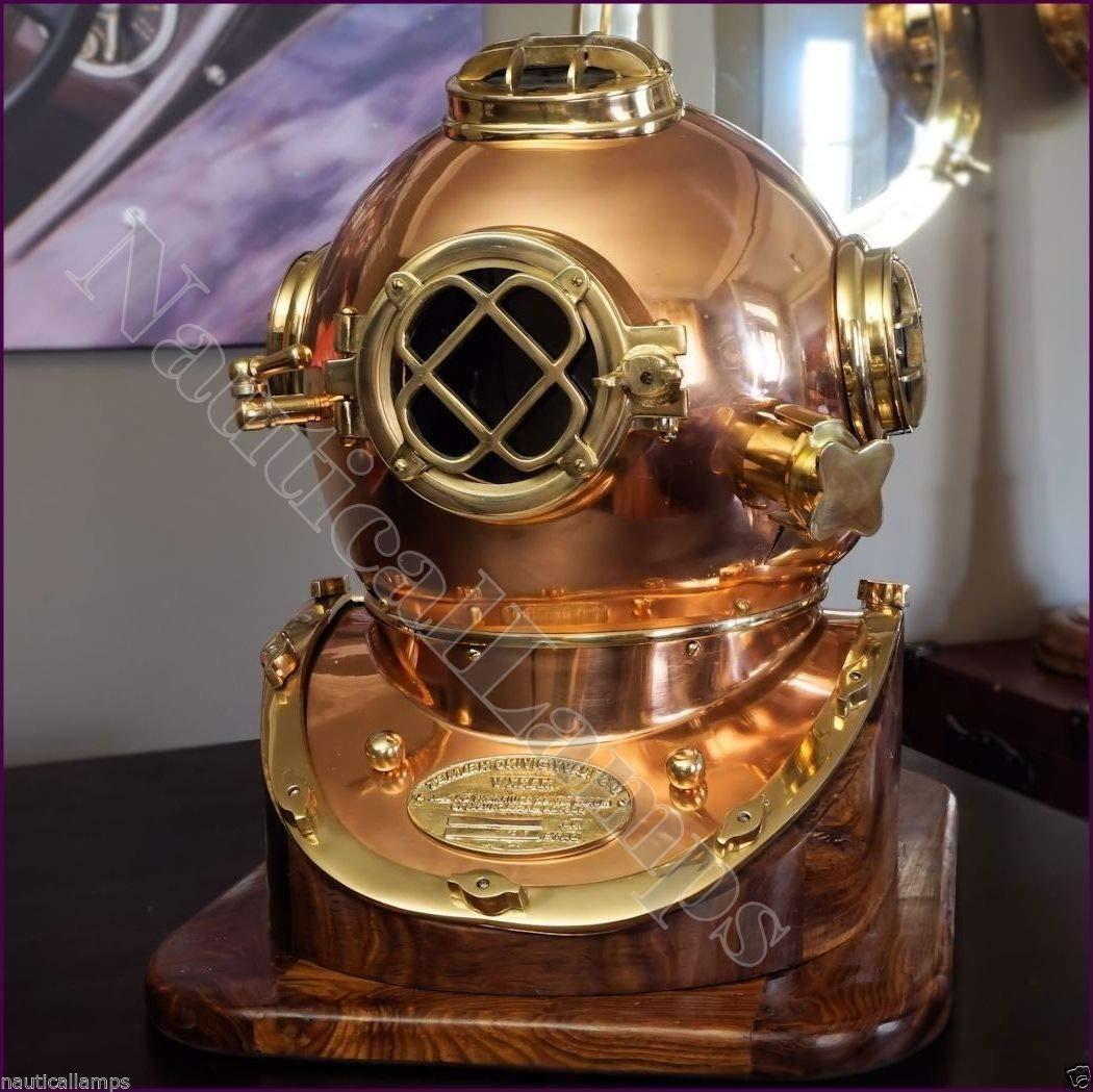 QUICK FALCON TRADER Antique Diving Divers Helmet Us Navy Mark V Helmet Solid Copper & Brass with Base