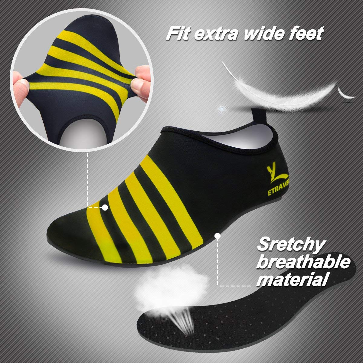 for Outdoor Pool Beach Swim Exercise Workout Cevinee Slip-on Water Shoes Anti-Slip Athletic Aqua Socks